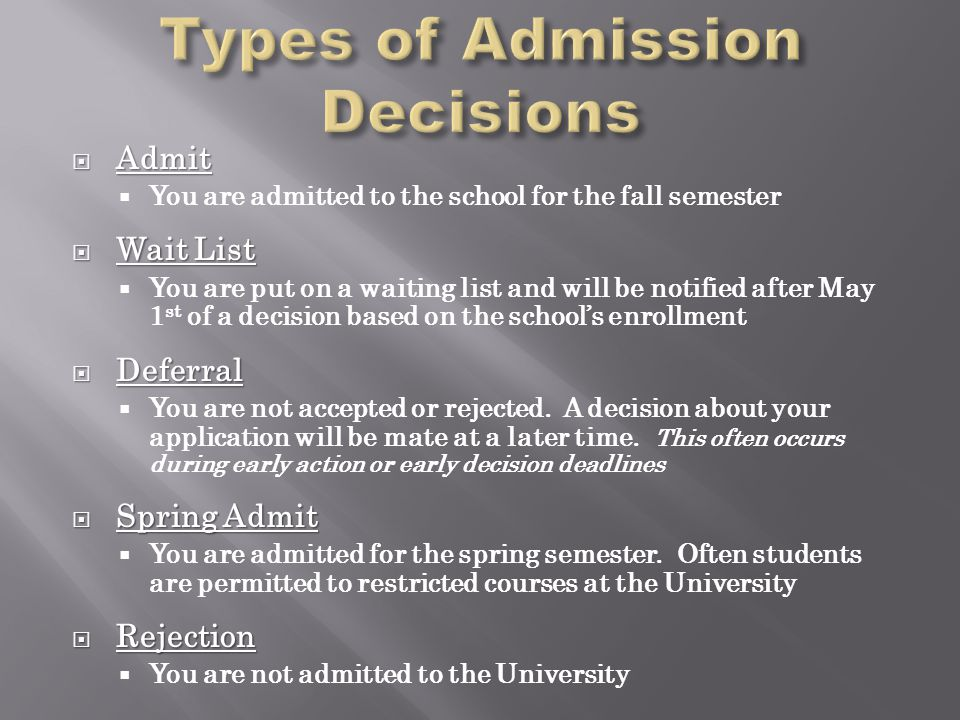  Admit  You are admitted to the school for the fall semester  Wait List  You are put on a waiting list and will be notified after May 1 st of a decision based on the school's enrollment  Deferral  You are not accepted or rejected.