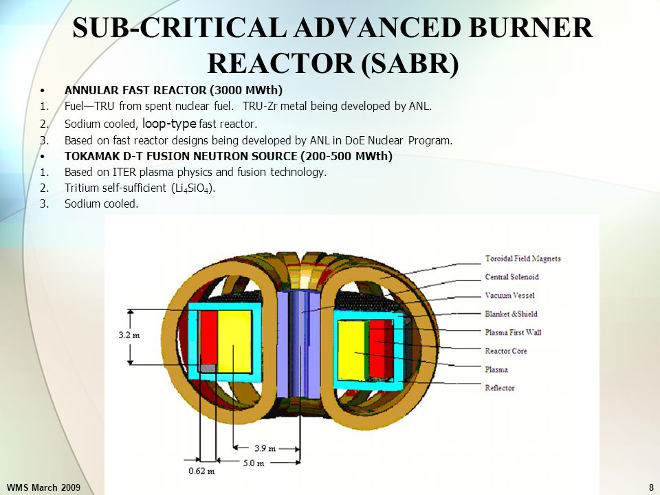 WMS March 2009Subcritical Advanced Burner Reactor8 SUB-CRITICAL ADVANCED BURNER REACTOR (SABR) ANNULAR FAST REACTOR (3000 MWth) 1.Fuel—TRU from spent nuclear fuel.