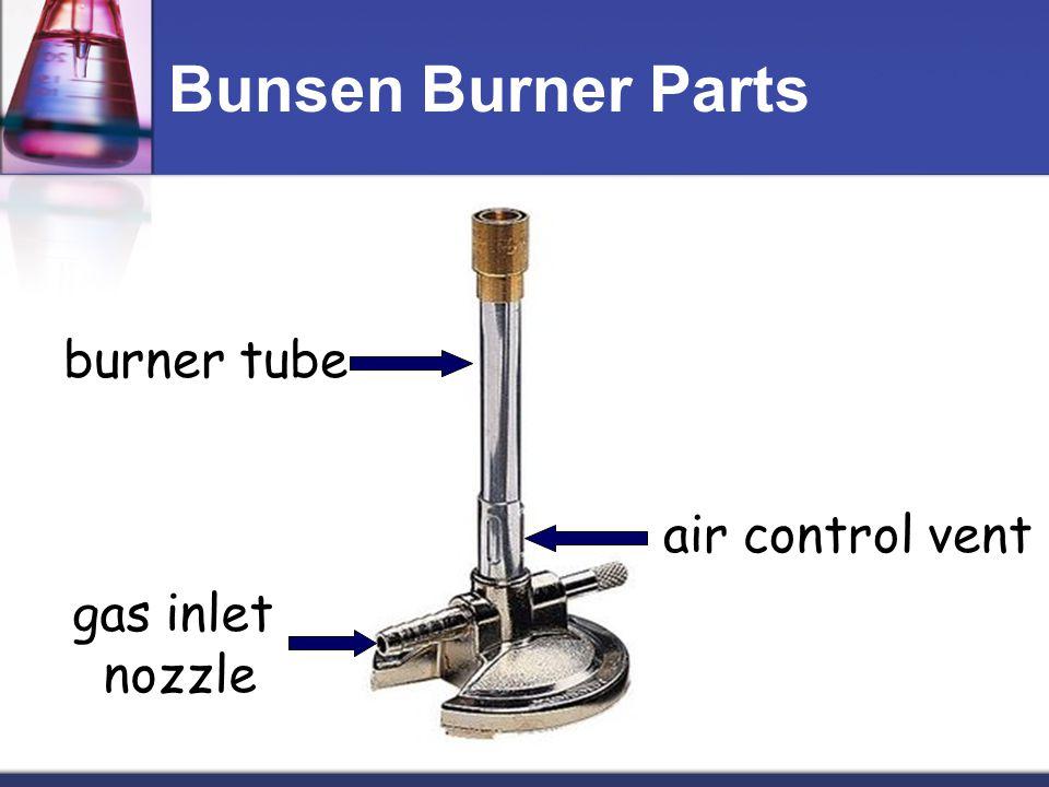 Bunsen Burner Parts burner tube air control vent gas inlet nozzle