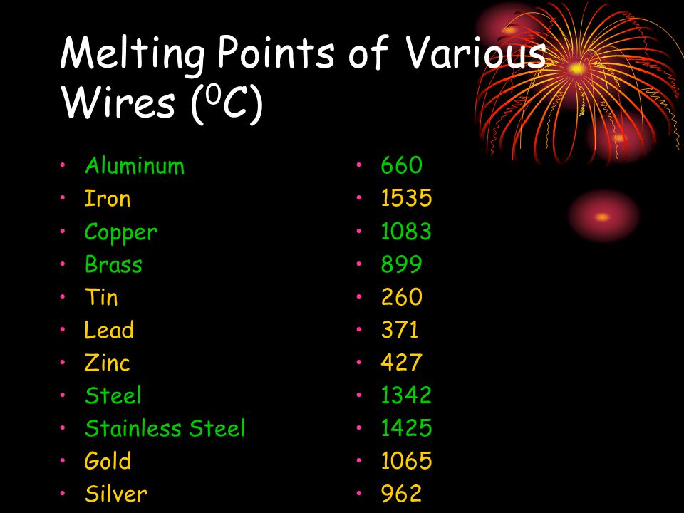 Melting Points of Various Wires ( 0 C) Aluminum Iron Copper Brass Tin Lead Zinc Steel Stainless Steel Gold Silver 660 1535 1083 899 260 371 427 1342 1