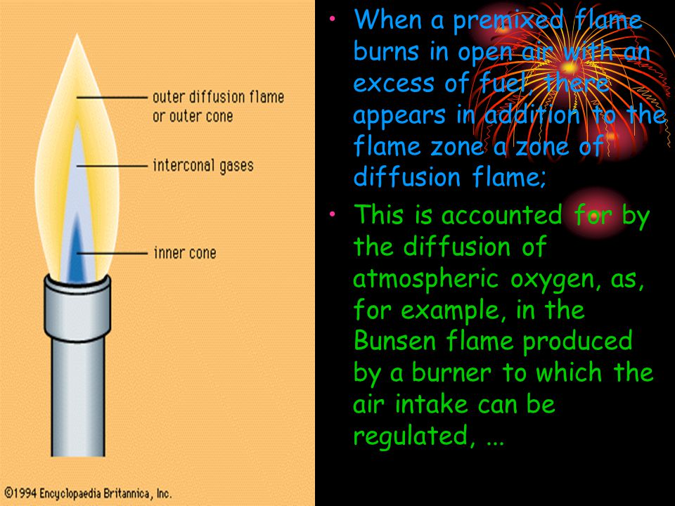 When a premixed flame burns in open air with an excess of fuel, there appears in addition to the flame zone a zone of diffusion flame; This is accounted for by the diffusion of atmospheric oxygen, as, for example, in the Bunsen flame produced by a burner to which the air intake can be regulated,...