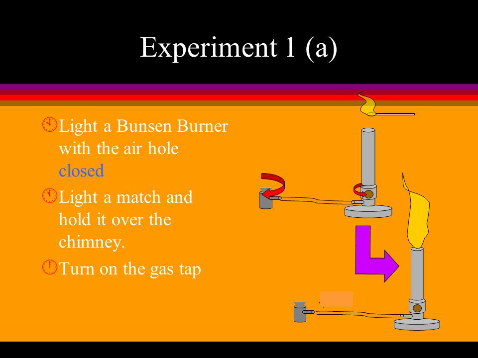Experiments to compare which flame is hotter Experiment 1 l with the air hole of Bunsen Burner CLOSED yellow flame Experiment 2 l with the air hole of