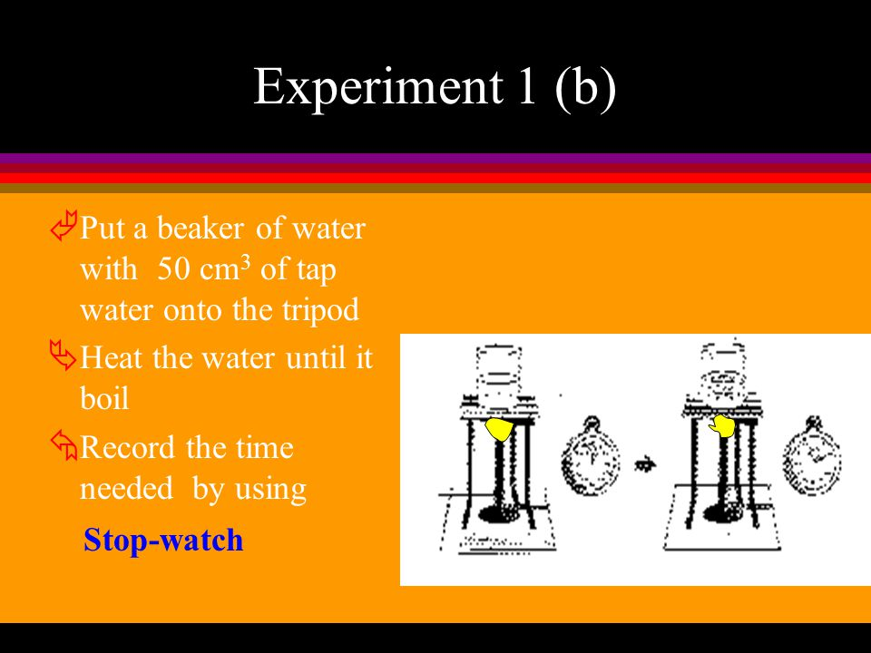 Experiment 1 (a) À Light a Bunsen Burner with the air hole closed Á Light a match and hold it over the chimney. Â Turn on the gas tap