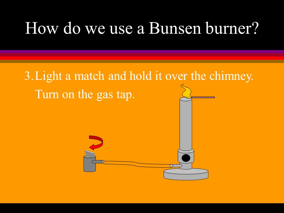How do we use a Bunsen burner? 2.Close the air hole.