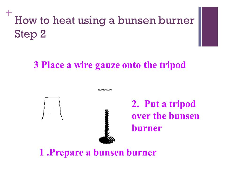 + How to heat using a bunsen burner Step 1 The apparatus used in the procedure of heating: Name the apparatus.