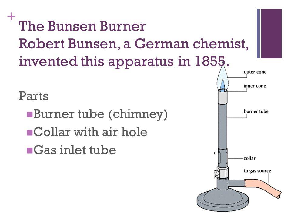 + The Bunsen Burner Robert Bunsen, a German chemist, invented this apparatus in 1855.