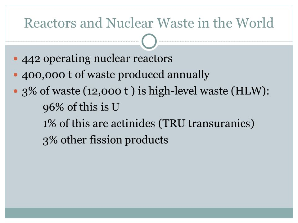 Reactors and Nuclear Waste in the World 442 operating nuclear reactors 400,000 t of waste produced annually 3% of waste (12,000 t ) is high-level waste (HLW): 96% of this is U 1% of this are actinides (TRU transuranics) ‏ 3% other fission products