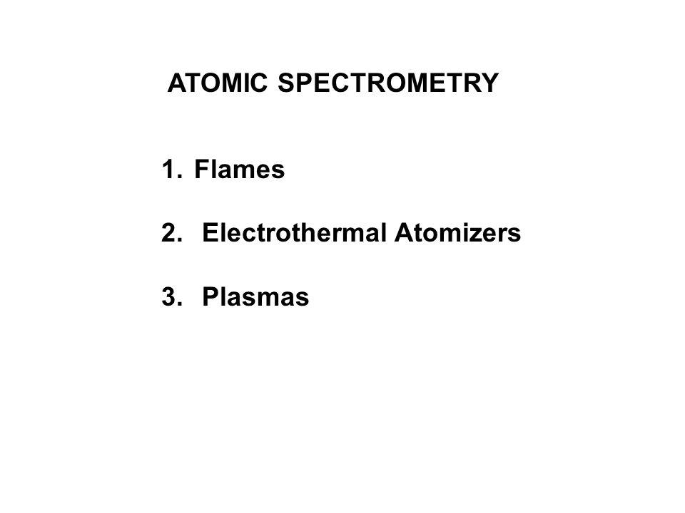 ATOMIC SPECTROMETRY 1. Flames 2. Electrothermal Atomizers 3. Plasmas