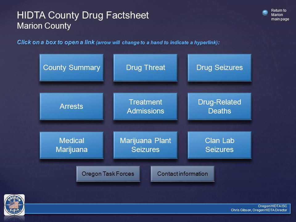 Oregon HIDTA ISC Chris Gibson, Oregon HIDTA Director Return to Marion main page County Summary Drug Threat Drug Seizures Arrests Treatment Admissions