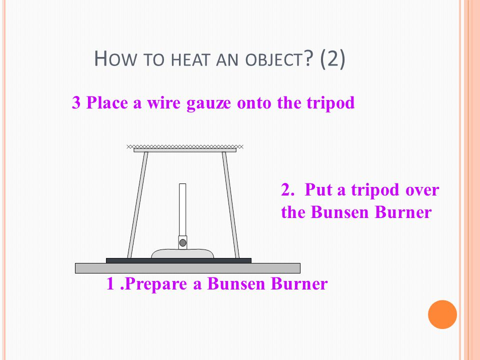 H OW TO HEAT AN OBJECT . (2) 1.Prepare a Bunsen Burner 2.