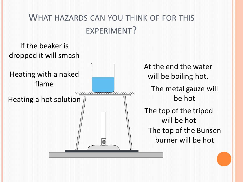W HAT HAZARDS CAN YOU THINK OF FOR THIS EXPERIMENT .