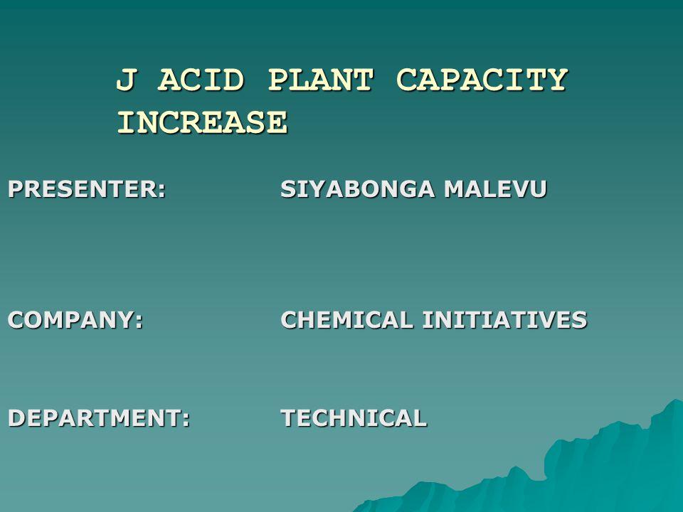J ACID PLANT CAPACITY INCREASE PRESENTER:SIYABONGA MALEVU COMPANY:CHEMICAL INITIATIVES DEPARTMENT:TECHNICAL