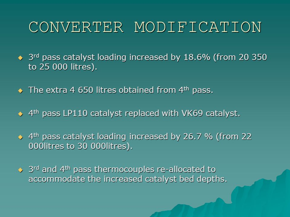 CONVERTER MODIFICATION  3 rd pass catalyst loading increased by 18.6% (from 20 350 to 25 000 litres).