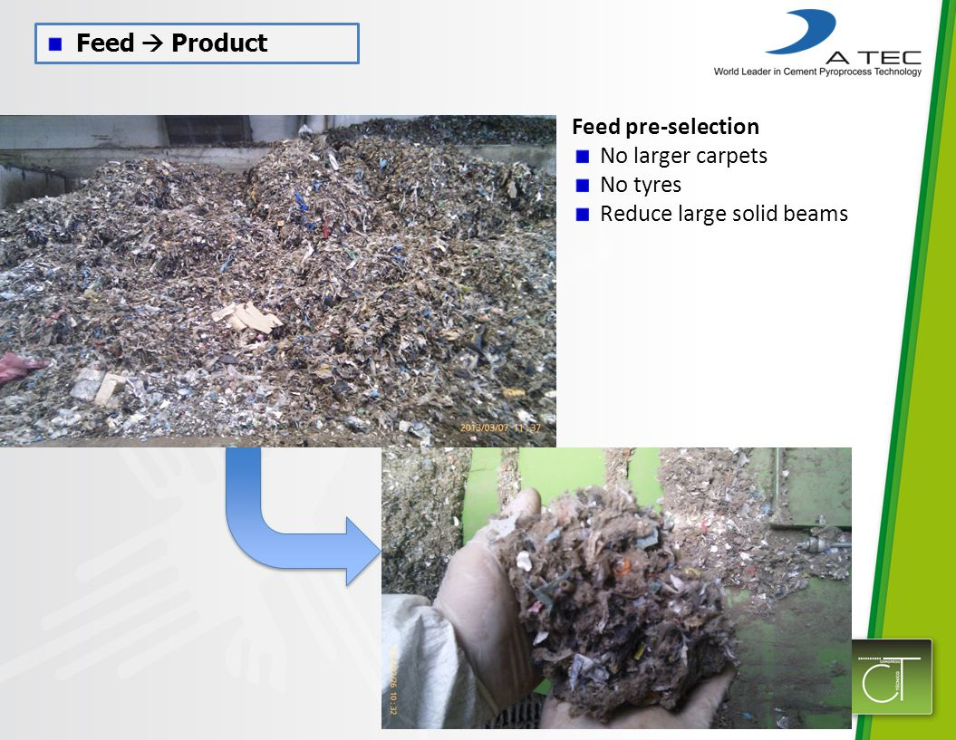 Feed  Product Feed pre-selection No larger carpets No tyres Reduce large solid beams