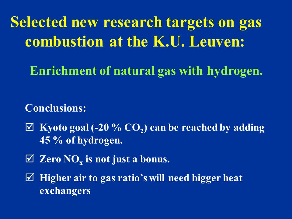 Selected new research targets on gas combustion at the K.U.