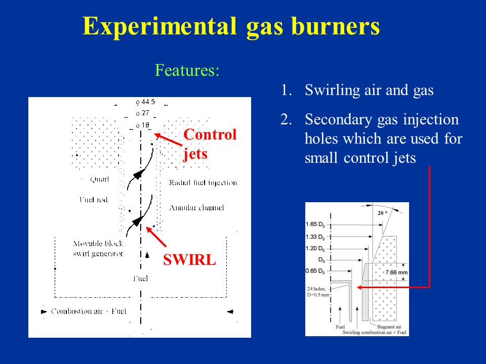 Experimental gas burners SWIRL Control jets 1.Swirling air and gas 2.Secondary gas injection holes which are used for small control jets Features: