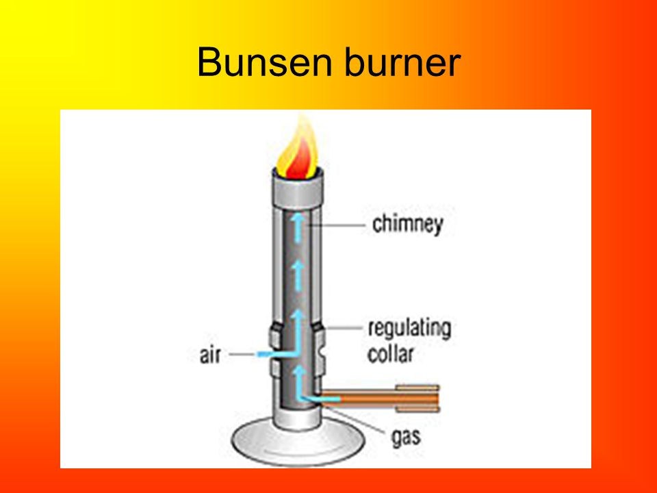 Gas burner used in laboratories, consisting of a vertical metal tube through which a fine jet of fuel gas is directed.