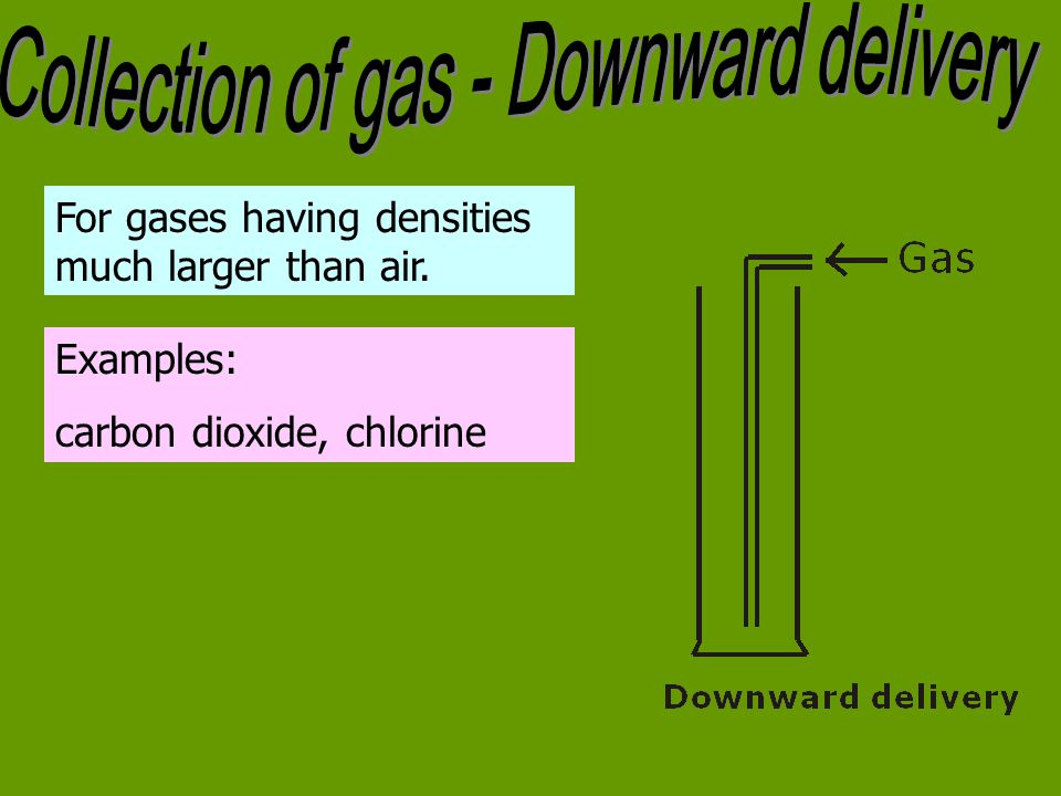 For gases having densities much larger than air. Examples: carbon dioxide, chlorine