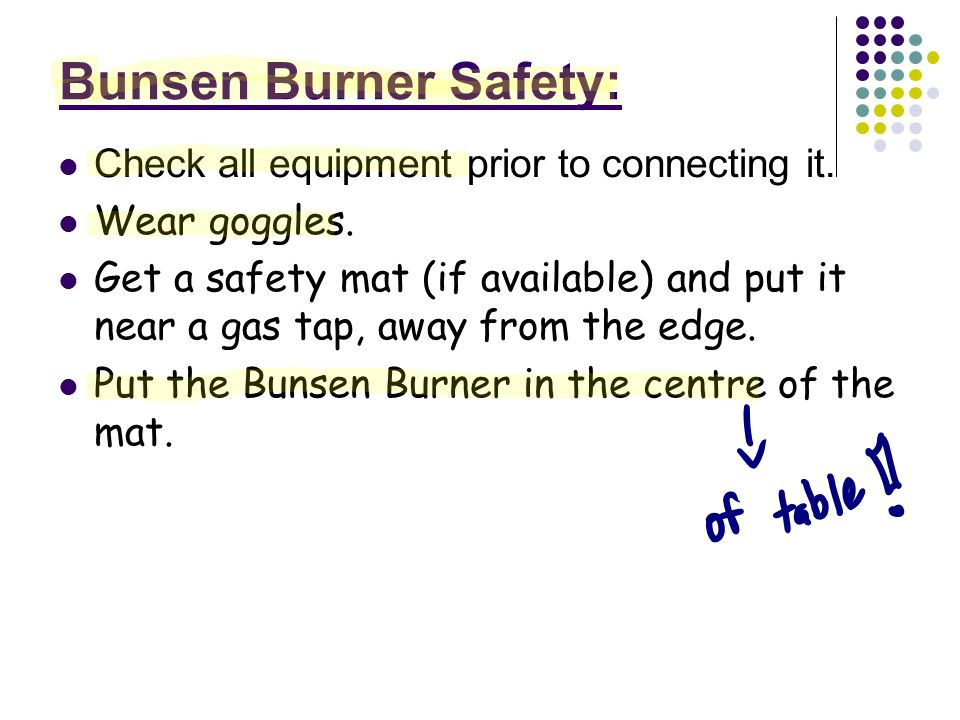 Bunsen Burner Safety: Check all equipment prior to connecting it.