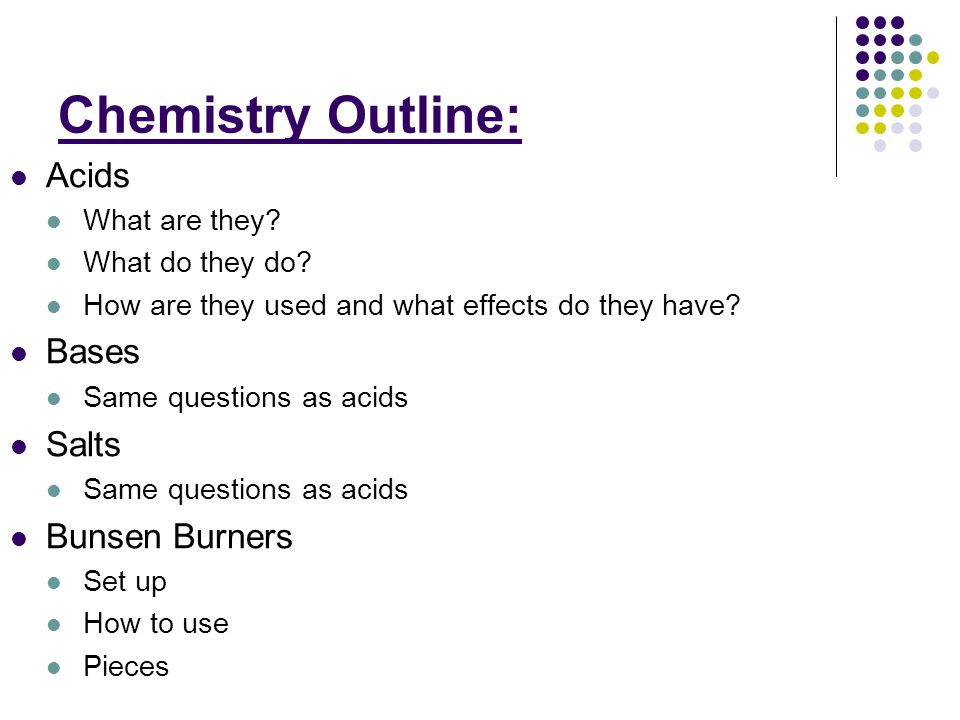 Chemistry Outline: Acids What are they. What do they do.