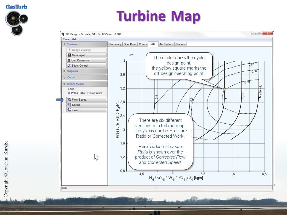 Copyright © Joachim Kurzke Turbine Map Here Turbine Pressure Ratio is shown over Corrected Speed.