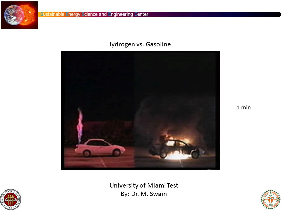 University of Miami Test By: Dr. M. Swain Hydrogen vs. Gasoline 1 min