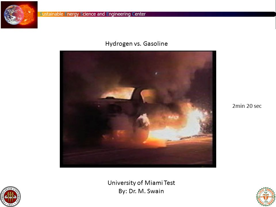 University of Miami Test By: Dr. M. Swain Hydrogen vs. Gasoline 2min 20 sec