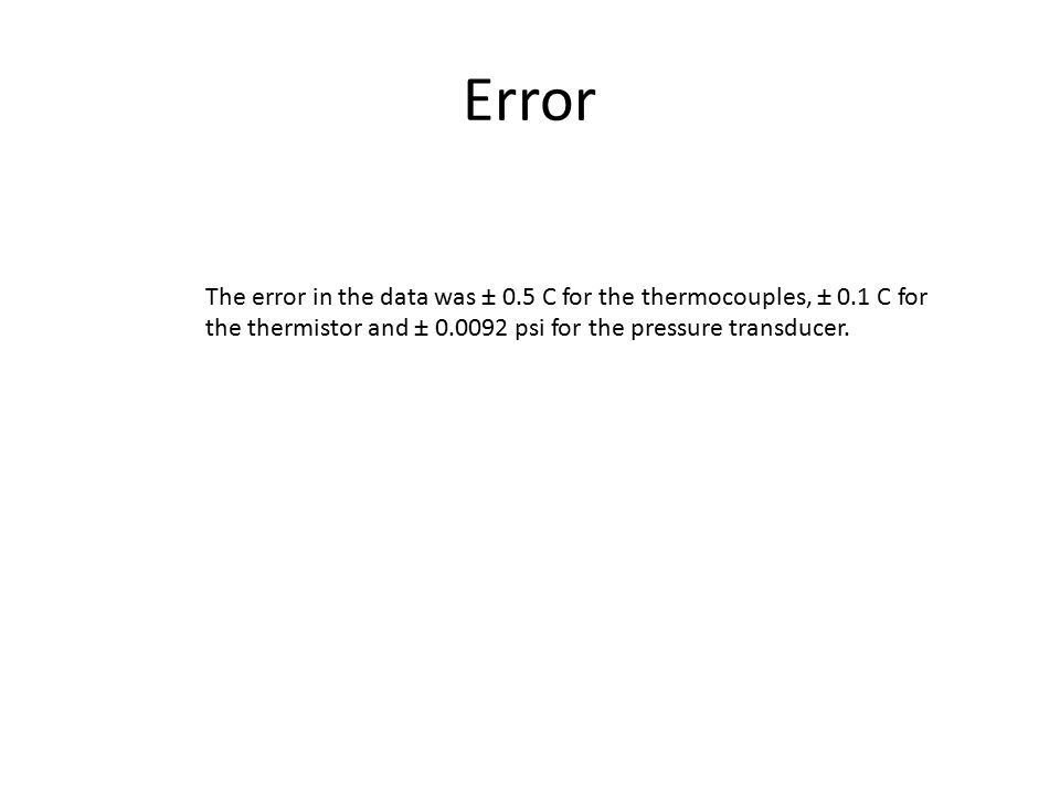 Error The error in the data was ± 0.5 C for the thermocouples, ± 0.1 C for the thermistor and ± 0.0092 psi for the pressure transducer.
