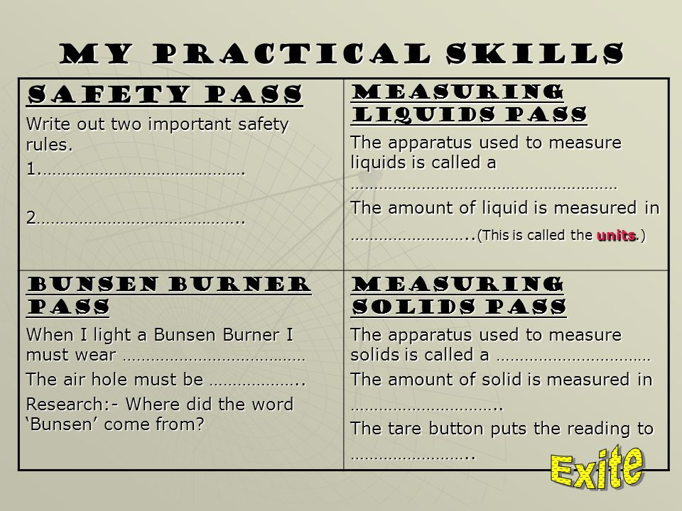 My Practical Skills Safety Pass Write out two important safety rules.