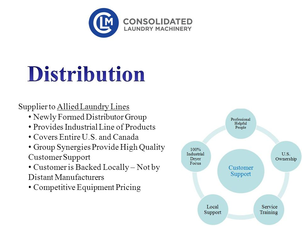 Supplier to Allied Laundry Lines Newly Formed Distributor Group Provides Industrial Line of Products Covers Entire U.S.