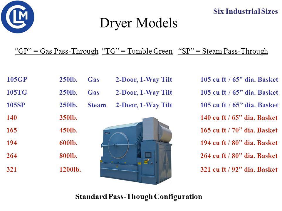 "Dryer Models 105GP250lb.Gas2-Door, 1-Way Tilt105 cu ft / 65"" dia. Basket 105TG250lb. Gas2-Door, 1-Way Tilt105 cu ft/ 65"" dia. Basket 105SP250lb. Steam"