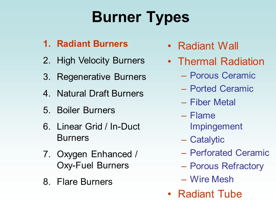 Burner Types 1.Radiant Burners 2.High Velocity Burners 3.Regenerative Burners 4.Natural Draft Burners 5.Boiler Burners 6.Linear Grid / In-Duct Burners 7.Oxygen Enhanced / Oxy-Fuel Burners 8.Flare Burners Radiant Wall Thermal Radiation –Porous Ceramic –Ported Ceramic –Fiber Metal –Flame Impingement –Catalytic –Perforated Ceramic –Porous Refractory –Wire Mesh Radiant Tube