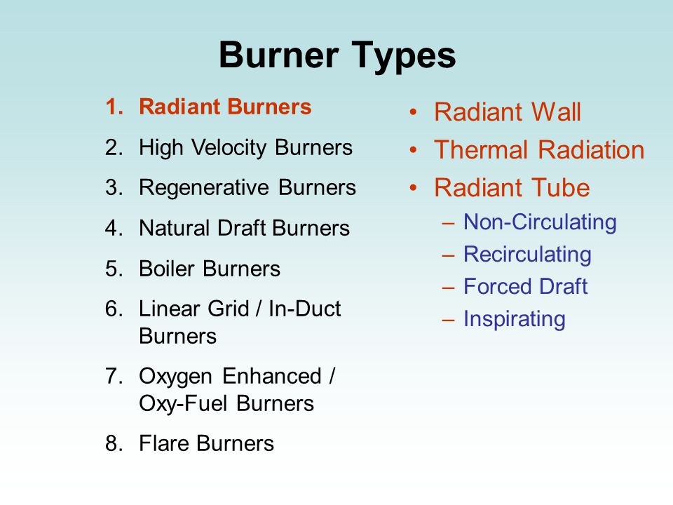Burner Types 1.Radiant Burners 2.High Velocity Burners 3.Regenerative Burners 4.Natural Draft Burners 5.Boiler Burners 6.Linear Grid / In-Duct Burners 7.Oxygen Enhanced / Oxy-Fuel Burners 8.Flare Burners Radiant Wall Thermal Radiation Radiant Tube –Non-Circulating –Recirculating –Forced Draft –Inspirating
