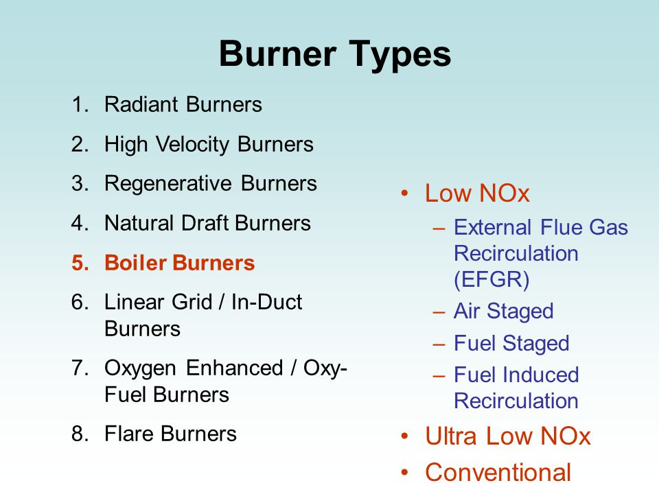 Burner Types 1.Radiant Burners 2.High Velocity Burners 3.Regenerative Burners 4.Natural Draft Burners 5.Boiler Burners 6.Linear Grid / In-Duct Burners 7.Oxygen Enhanced / Oxy- Fuel Burners 8.Flare Burners Low NOx –External Flue Gas Recirculation (EFGR) –Air Staged –Fuel Staged –Fuel Induced Recirculation Ultra Low NOx Conventional