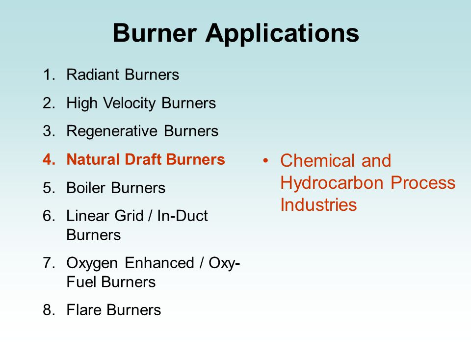 Burner Applications 1.Radiant Burners 2.High Velocity Burners 3.Regenerative Burners 4.Natural Draft Burners 5.Boiler Burners 6.Linear Grid / In-Duct Burners 7.Oxygen Enhanced / Oxy- Fuel Burners 8.Flare Burners Chemical and Hydrocarbon Process Industries
