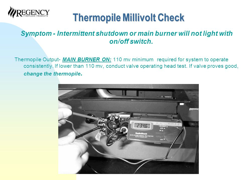 Circuit Millivolt Check Symptom - Intermittent shutdown or main burner will not light with on/off switch.