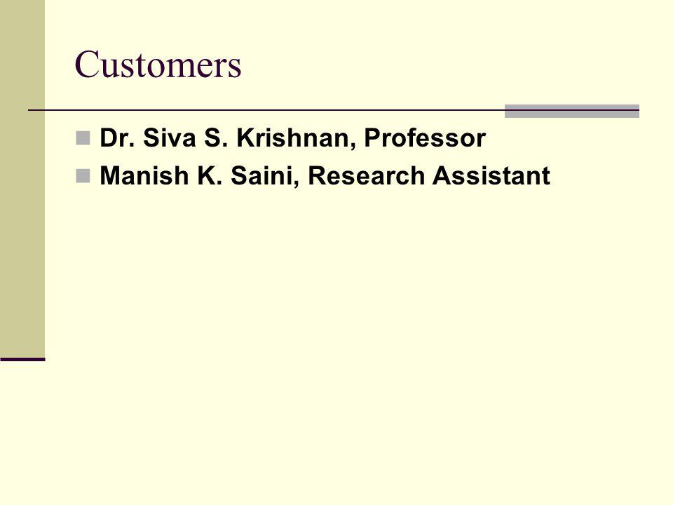 Customers Dr. Siva S. Krishnan, Professor Manish K. Saini, Research Assistant