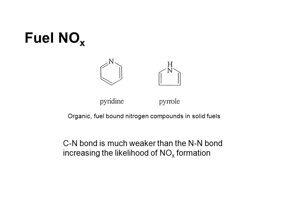 Fuel NO x Organic, fuel bound nitrogen compounds in solid fuels C-N bond is much weaker than the N-N bond increasing the likelihood of NO x formation