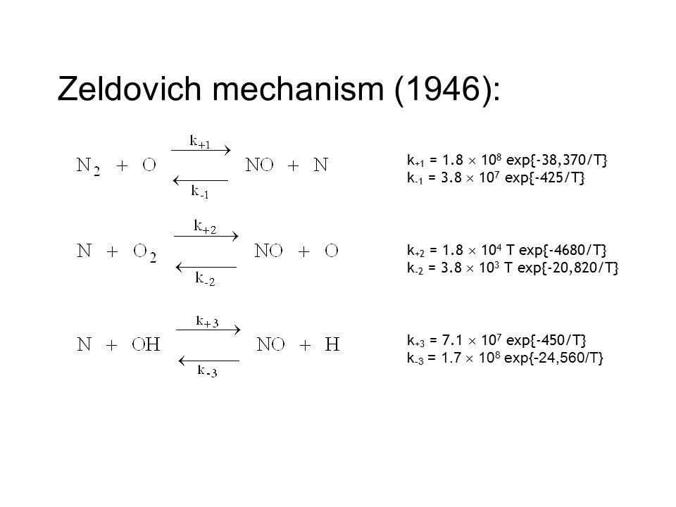 Zeldovich mechanism (1946): k +1 = 1.8  10 8 exp{-38,370/T} k -1 = 3.8  10 7 exp{-425/T} k +2 = 1.8  10 4 T exp{-4680/T} k -2 = 3.8  10 3 T exp{-20,820/T} k +3 = 7.1  10 7 exp{-450/T} k -3 = 1.7  10 8 exp{-24,560/T}