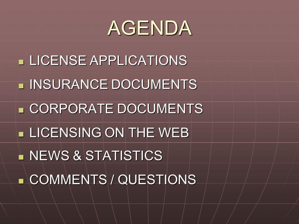 AGENDA LICENSE APPLICATIONS LICENSE APPLICATIONS INSURANCE DOCUMENTS INSURANCE DOCUMENTS CORPORATE DOCUMENTS CORPORATE DOCUMENTS LICENSING ON THE WEB LICENSING ON THE WEB NEWS & STATISTICS NEWS & STATISTICS COMMENTS / QUESTIONS COMMENTS / QUESTIONS