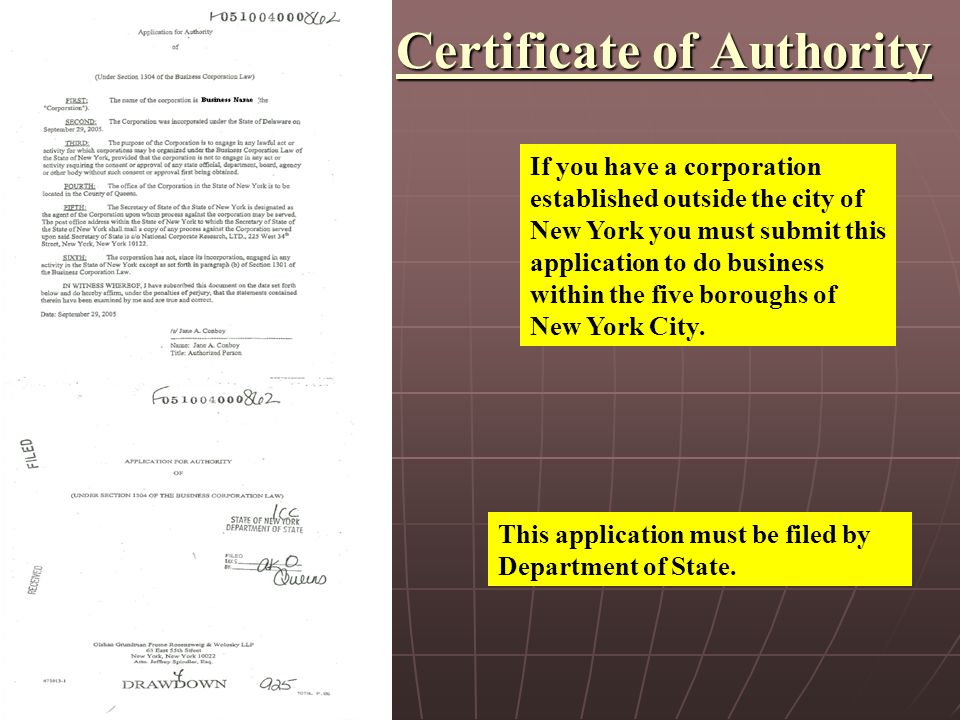 If you have a corporation established outside the city of New York you must submit this application to do business within the five boroughs of New York City.