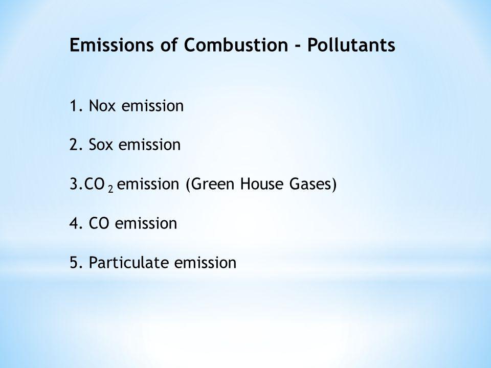 Emissions of Combustion - Pollutants 1. Nox emission 2. Sox emission 3.CO 2 emission (Green House Gases) 4. CO emission 5. Particulate emission