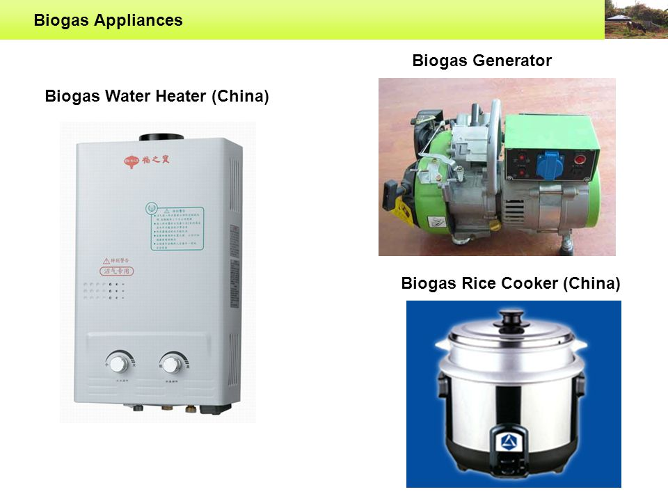 Biogas Appliances Biogas Water Heater (China) Biogas Generator Biogas Rice Cooker (China)
