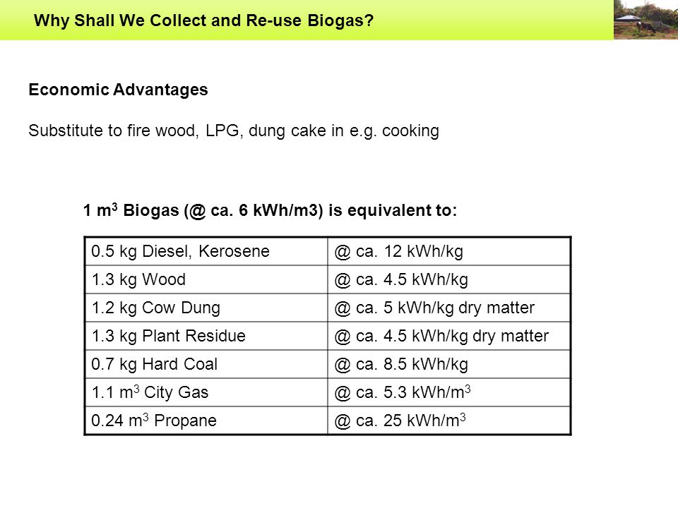 Why Shall We Collect and Re-use Biogas? 30 m 3 BIOGAS==INR. 400 (@ 14.2 kg of LPG per container)