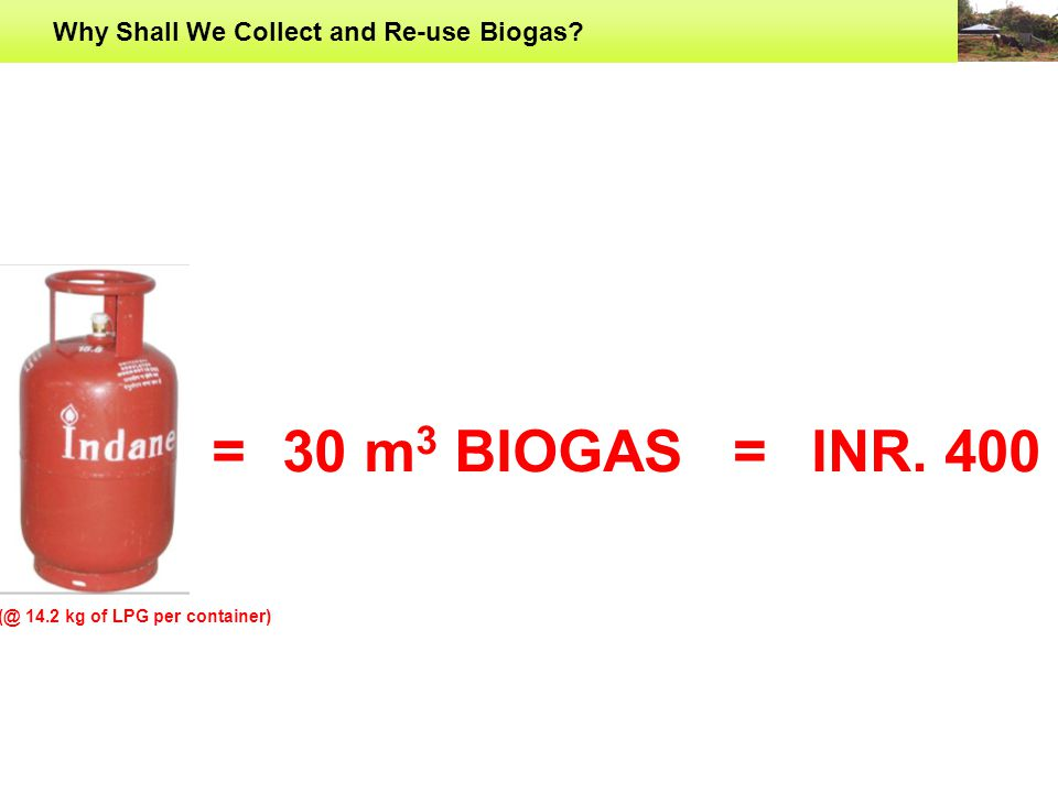 Why Shall We Collect and Re-use Biogas 30 m 3 BIOGAS==INR. 400 (@ 14.2 kg of LPG per container)