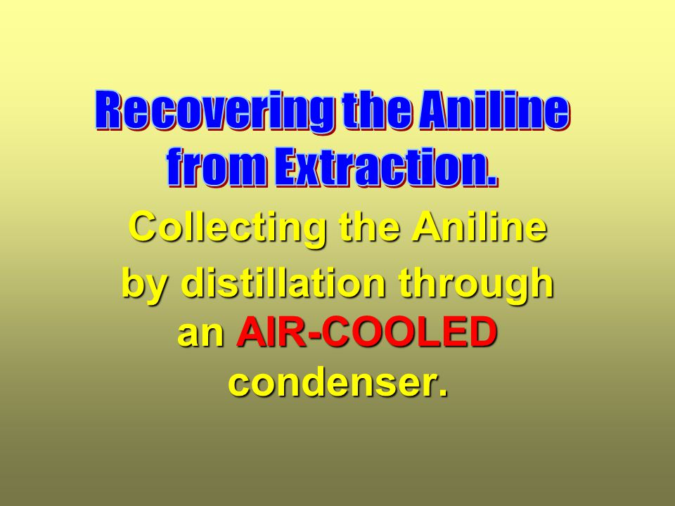 Collecting the Aniline by distillation through an AIR-COOLED condenser.