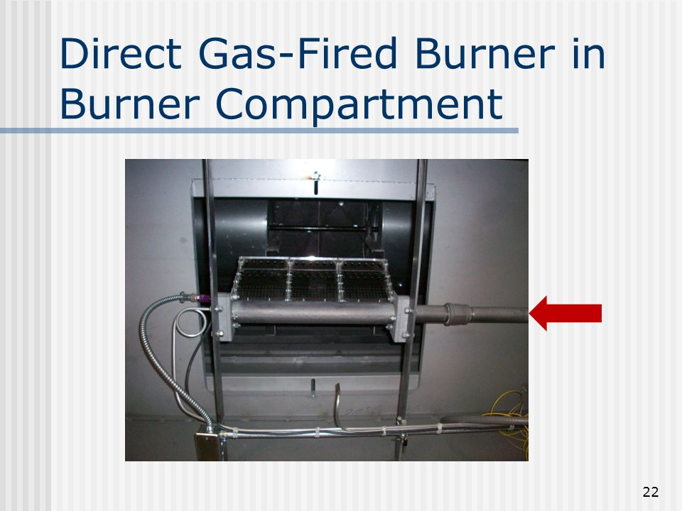 Direct Gas-Fired Burner in Burner Compartment 22