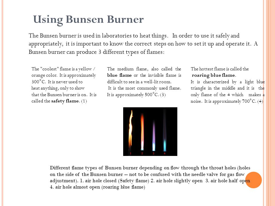 Using Bunsen Burner The Bunsen burner is used in laboratories to heat things.