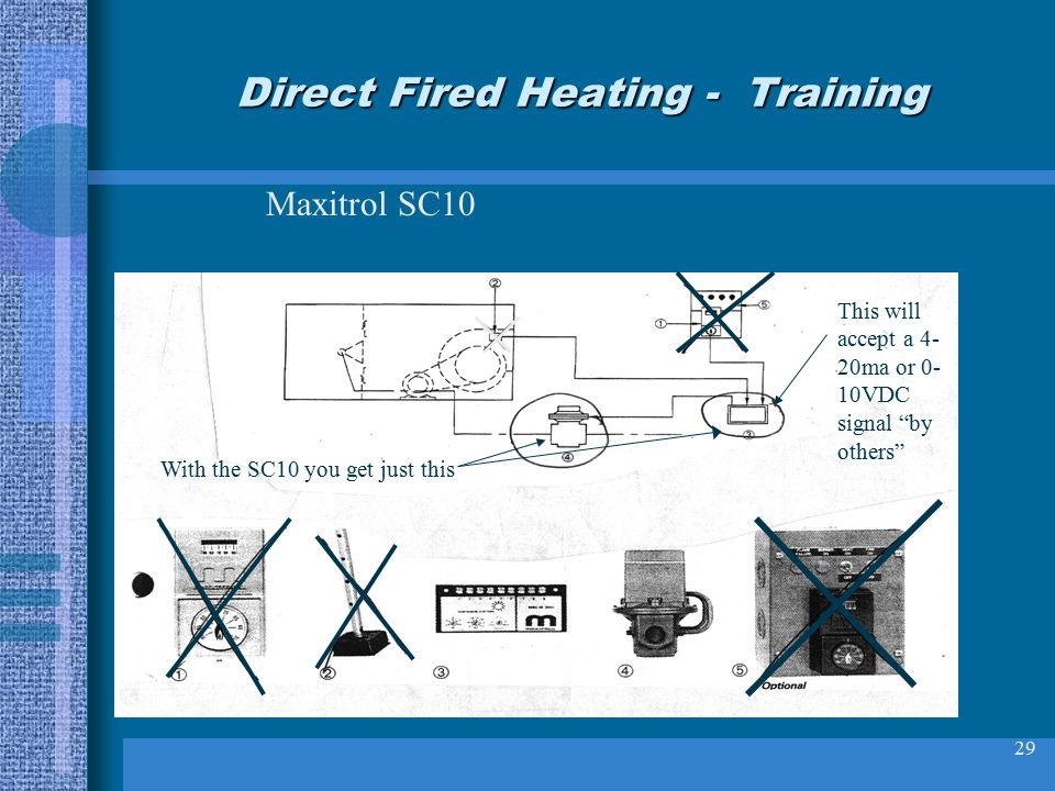 29 Direct Fired Heating - Training Maxitrol SC10 With the SC10 you get just this This will accept a 4- 20ma or 0- 10VDC signal by others