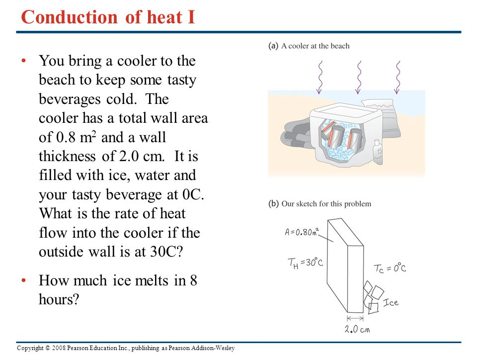 Copyright © 2008 Pearson Education Inc., publishing as Pearson Addison-Wesley Conduction of heat I You bring a cooler to the beach to keep some tasty